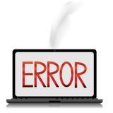 Mensaje de error en una pantalla del laptope Imágenes de archivo libres de regalías