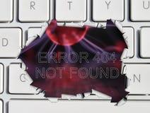 Mensaje de error no encontrado de la paginación Fotos de archivo