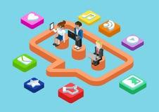 Mensaje de la charla del negocio, medios situación social del usuario que comparte 3d plano ilustración del vector