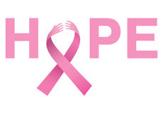 Mensaje de la conciencia del cáncer de pecho de la esperanza Fotos de archivo