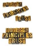 Mensaje de la confianza de los principios de la honradez Imagen de archivo