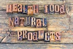 Mensaje de la dieta de los productos naturales de la comida sana Fotos de archivo libres de regalías