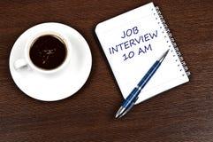 Mensaje de la entrevista de trabajo Foto de archivo libre de regalías