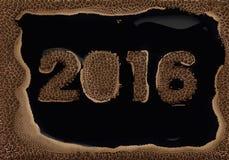 Mensaje de la espuma del café sobre los 2016 años Fotos de archivo libres de regalías