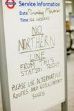 Mensaje de la estación de metro de Londres Fotografía de archivo