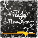 Mensaje de la Feliz Año Nuevo, escrito en el negro Foto de archivo