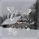 Mensaje 2018 de la Navidad y del Año Nuevo durante el invierno borroso Forest Background Holidays Card Design Imágenes de archivo libres de regalías