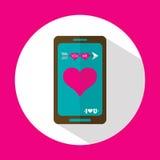 Mensaje de la tarjeta del día de San Valentín, icono plano con la sombra larga, vector Imagenes de archivo