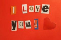 Mensaje de la tarjeta del día de San Valentín Fotos de archivo