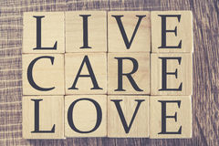 Mensaje de Live Care Love Imagen de archivo libre de regalías