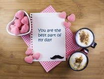 Mensaje de los caramelos de Coffe Fotos de archivo libres de regalías