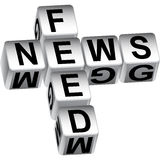 mensaje de los dados de la alimentación de noticias 3D stock de ilustración