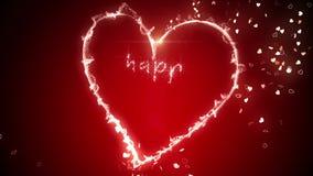 Mensaje de neón del corazón que brilla intensamente y de las tarjetas del día de San Valentín