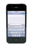 Mensaje de texto del iPhone 4s de Apple Imagen de archivo libre de regalías
