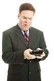 Mensaje de texto ofensivo - hombre de negocios foto de archivo