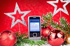 Mensaje de texto a Papá Noel Imágenes de archivo libres de regalías