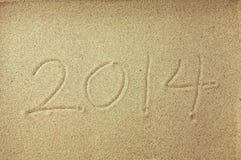 Mensaje del Año Nuevo en la arena Fotografía de archivo