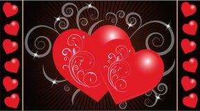 Mensaje del amor con los corazones Imagenes de archivo