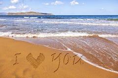 Mensaje del amor de la arena Foto de archivo libre de regalías