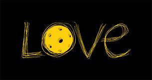 Mensaje del amor de Pickleball stock de ilustración