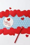 Mensaje del amor del día de tarjeta del día de San Valentín Imágenes de archivo libres de regalías