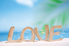 Mensaje del amor en la playa Foto de archivo
