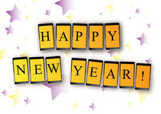 Mensaje del móvil del Año Nuevo Fotografía de archivo