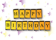 Mensaje del móvil del cumpleaños Fotografía de archivo libre de regalías