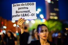 Mensaje del manifestante, Bucarest, Rumania Fotos de archivo libres de regalías