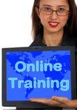 Mensaje del ordenador del entrenamiento en línea Fotografía de archivo