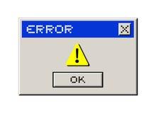 Mensaje del ordenador del error Fotografía de archivo libre de regalías
