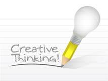 Mensaje del pensamiento creativo escrito con un bulbo Imagen de archivo libre de regalías