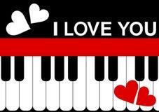 Mensaje del piano de la tarjeta del día de tarjetas del día de San Valentín Foto de archivo libre de regalías