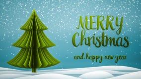 Mensaje del saludo de la Feliz Navidad del árbol verde de Navidad y de la Feliz Año Nuevo en inglés en fondo azul, escamas de la  fotos de archivo libres de regalías