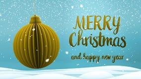 Mensaje del saludo de la Feliz Navidad de la decoración de la bola del árbol de Navidad del oro y de la Feliz Año Nuevo en inglés metrajes