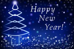 Mensaje del saludo de las luces de Navidad de la Feliz Navidad chispeante del árbol y de la Feliz Año Nuevo en el fondo azul, esc imagen de archivo libre de regalías