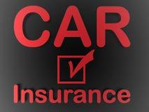Mensaje del seguro de coche en negro Fotografía de archivo