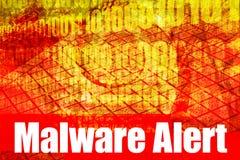 Mensaje del sistema de alerta de Malware Foto de archivo libre de regalías