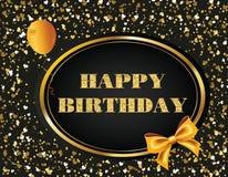 Mensaje del vector del brillo del feliz cumpleaños Fotografía de archivo