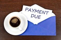 Mensaje del vencimiento del pago Imagenes de archivo