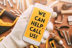 Mensaje elegante del contacto del app del teléfono de la manitas imágenes de archivo libres de regalías