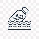 Mensaje en un icono del vector de la botella aislado en backgrou transparente ilustración del vector