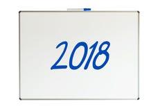 2018, mensaje en whiteboard Imagen de archivo