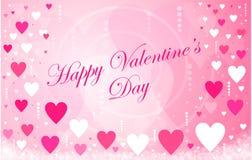 Mensaje feliz de los corazones del día del ` s de la tarjeta del día de San Valentín Fotos de archivo libres de regalías