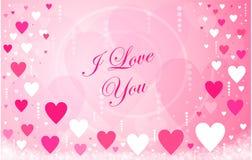 Mensaje feliz de los corazones del día del ` s de la tarjeta del día de San Valentín imagen de archivo libre de regalías