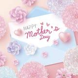 Mensaje feliz del día de madres en el Libro Blanco en sobre y flores libre illustration