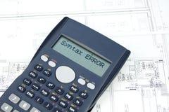 Mensaje incorrecto en la visualización de la calculadora Fotografía de archivo libre de regalías