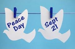 Mensaje internacional del día de la paz Foto de archivo libre de regalías