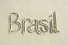 Mensaje manuscrito del Brasil en la arena lisa Fotografía de archivo libre de regalías