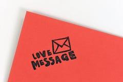 Mensaje rojo del amor Fotografía de archivo libre de regalías